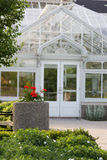 White greenhouse. The front of a  white greenhouse.  University of Guelph, Guelph, Ontario, Canada Stock Photo