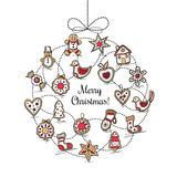 White greeting card with Christmas wreath Stock Photo