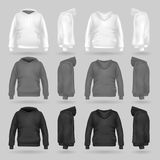 White, grey and black sweatshirt hoodie template in four dimensions royalty free illustration