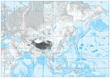 White and grey color physical map of Asia. No text. Stock Photography