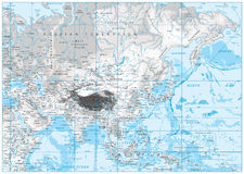 White and grey color physical map of Asia Royalty Free Stock Photography