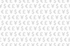 White and Grey Dollar Euro Yen Pound Currencies Pattern Backgrou Royalty Free Stock Photos