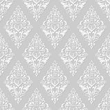 White and grey floral wallpaper Stock Images