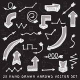 White and grey hand drawn arrows vector set Stock Images