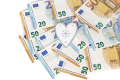 White and grey heart with Euro. euro banknotes. love and money Stock Image