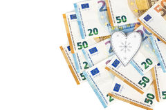 White and grey heart with Euro. euro banknotes. love and money Royalty Free Stock Photo