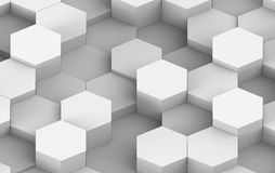 White And Grey Hexagon Background Texture. 3d render. White And Grey Hexagon Metal Background Texture. 3d illustration Royalty Free Stock Photos