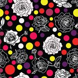 White or grey and inverse black roses blossom on black background with dots lentils in pastel colors. Pink, violet, yellow stock illustration