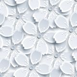 White and grey seamless pattern with sakura blossom Vector Illustration