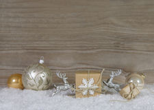 White, grey and silver christmas decoration on wooden background Stock Photo