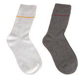 White and grey socks. Isolated on white Stock Images