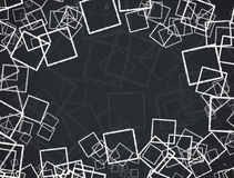 White and grey square designs on black background Royalty Free Stock Images
