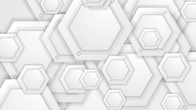 White and grey tech video animation with hexagons stock video