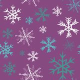 White, grey and turquoise snowflakes seamless pattern. Vector illustration on violet background. Hand drawn white, grey and turquoise snowflakes seamless pattern vector illustration