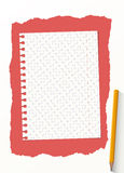 White grid notebook paper sheet are on red background with yellow wooden pencil Royalty Free Stock Images