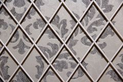 White grille pattern Wallpaper grey beige cover Stock Images