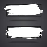 White, grunge banners on dark background with frame Stock Photos
