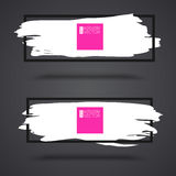 White, grunge banners on dark background with frame Royalty Free Stock Photos
