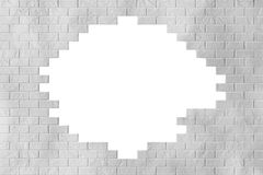 White Grunge Brick Wall with Blank Hole Stock Photography