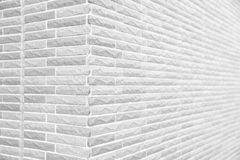 White grunge brick wall corner. Texture or pattern for background and material concept Royalty Free Stock Image