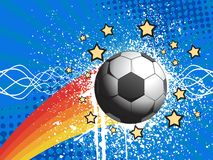 White grunge soccer with blue rays background Stock Images