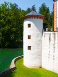 White guard tower of Sneznik Castle Stock Photos