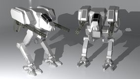 White guardian robots vector illustration