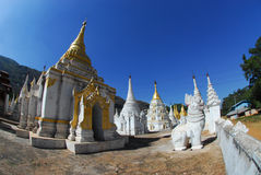 White guardians and  pagodas in temple, Myanmar. Stock Images