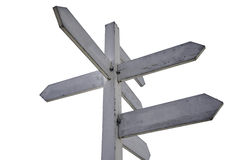 White guidepost isoleted with path. White guidepost with blue sky Stock Images