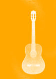 White guitar on the orange background Stock Image