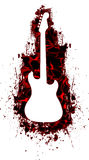 White Guitar Silhouette in liquid Red. A White silhouette of a electric guitar in a red liquid splatter painted in the background stock illustration