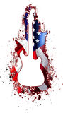 White Guitar Silhouette USA Rock. An Illustration of a White silhouette electric guitar on an American Flag splatter painted in the background stock illustration