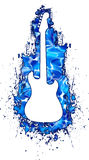 White Guitar Silhouette in Water. A White silhouette of a electric guitar in a pool of cool blue water splatter painted in the background vector illustration