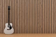 White guitar in wood plank room design in 3D rendering. White guitar in wood plank room design concept in 3D rendering Stock Photography