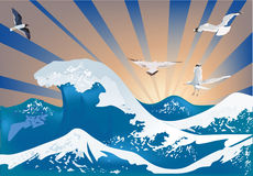 White Gulls Above Sea Waves Royalty Free Stock Photography