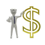 White guy with dollar currency symbol. White guy with gold dollar currency symbol - 3D render Royalty Free Stock Photo