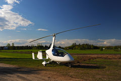 White gyroplane parked on the private airfield Royalty Free Stock Photography