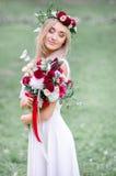White hair envelopes bride`s face Royalty Free Stock Photo