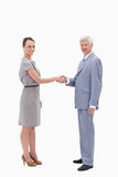 White hair man face to face and shaking hands Royalty Free Stock Images