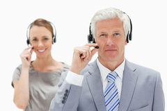 A white hair man with a smiling woman Stock Photography