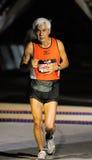 White hair old man marathon runner Stock Images