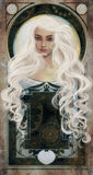 White haired beauty over art novo background Royalty Free Stock Photo