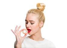 White-haired girl eating sushi Royalty Free Stock Photo