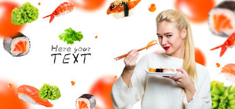 White-haired girl eating sushi with a chopsticks, isolated on white Royalty Free Stock Photos