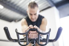 Indoor cycling near the window royalty free stock images