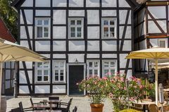 White half timbered house at the market square of Soest. Germany royalty free stock photos