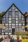 White half timbered house at the market square of Soest. Germany royalty free stock images