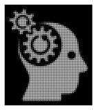 White Halftone Brain Gears Rotation Icon. Halftone pixelated brain gears rotation icon. White pictogram with pixelated geometric structure on a black background stock illustration