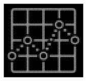 White Halftone Dotted Line Grid Plot Icon. Halftone dotted line grid plot icon. White pictogram with dotted geometric structure on a black background. Vector royalty free illustration