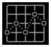White Halftone Dotted Line Grid Plot Icon. Halftone pixel dotted line grid plot icon. White pictogram with pixel geometric structure on a black background vector illustration